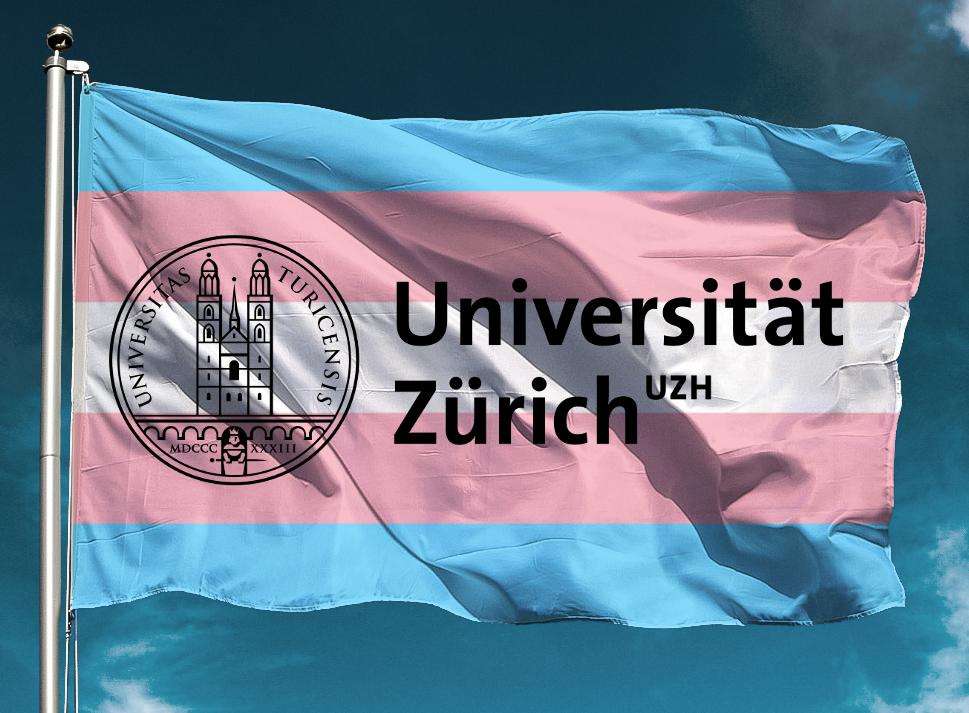 Eine transgender-pride Flagge mit dem Logo der Universität Zürich.