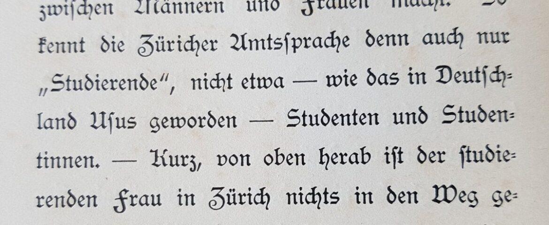 """Ein Ausschnitt aus einem Text von 1896, der den Gebrauch des Worts """"Studierende"""" erklärt."""